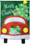 CHRISTMAS TRUCK APPLIQUE GARDEN FLAG