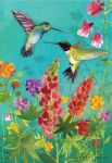 HUMMINGBIRD GREETING GARDEN FLAG