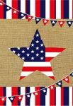 PATRIOTIC STAR BURLAP GARDEN FLAG